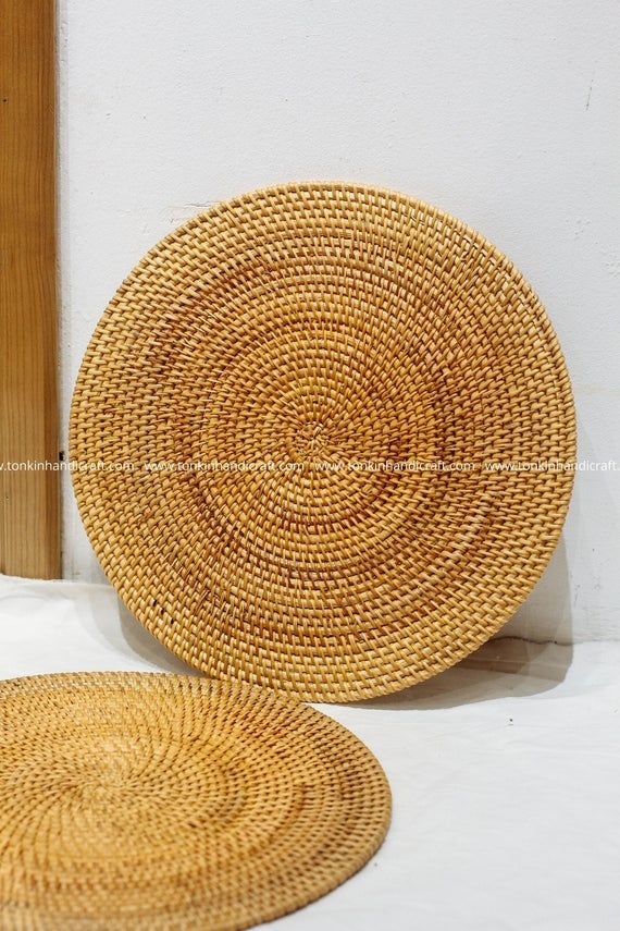 Set Of 2 Round Rattan Handmade Placemat Braided Mat Heat Etsy Woven Placemats Woven Baskets Storage Wicker Baskets Storage