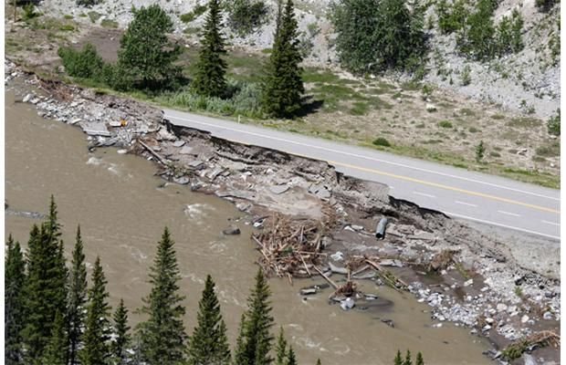 The heavily damaged Highway 66 bridge over the Elbow River west of Bragg Creek on Thursday June 27, 2013. Photograph by: Gavin Young, Calgary Herald