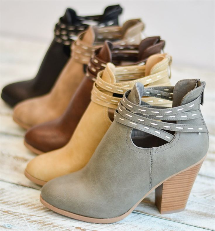 Step into a unique heeled ankle boot style with the strappy cut-out ankle boots!