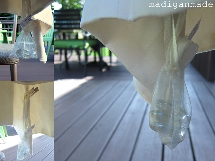 Use little gauzy bags filled with glass gems for tablecloth weights.