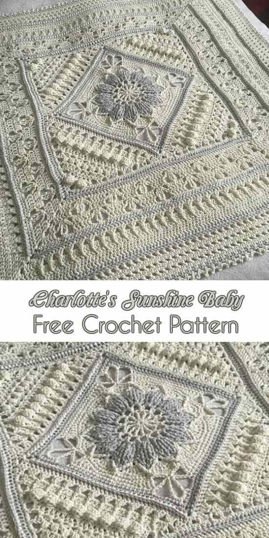 Charlotte's Sunshine Baby - large square for #pillow #afghan #blanket Free Crochet Pattern