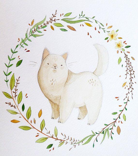 Persian Cat and Wreath Illustration Original by AnnetteJonesArt, £15.00