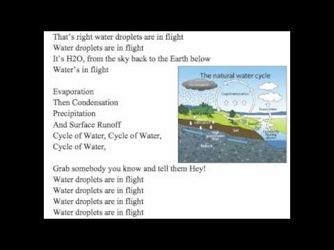 Water Cycle Song Here is a video I created for my 6th grade science students to help them study.I hope you enjoy. Water not working hard?  Yeah right picture that with a flip  And better yet, go to the Troposphere  Take a video of water's trip  Takes a droplet from ground to air  And I just want y'all know that  Water's life, let's enjoy the fl...