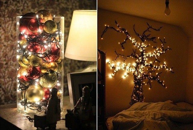 Как сделать светильник из гирлянды фото