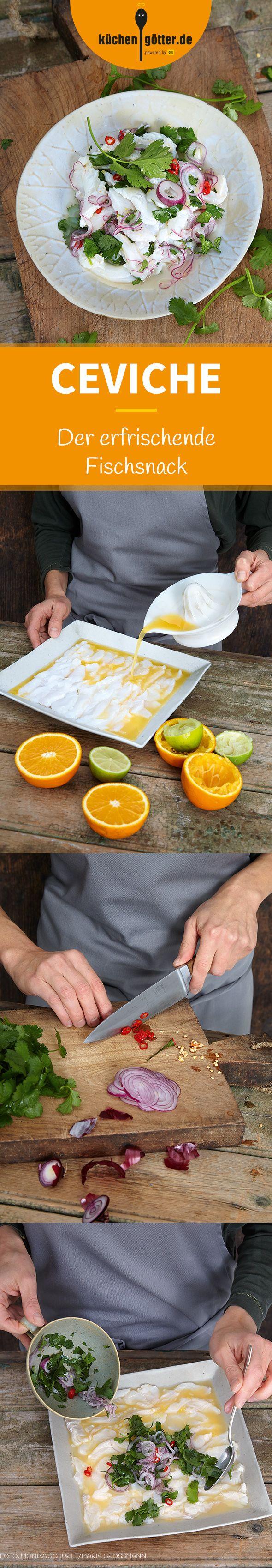 CEVICHE - Fangfrischer roher Fisch wird mit Limetten- oder Zitronensaft aromatisiert und zieht ein paar Stunden im eigenen Saft, bis der Fisch nicht mehr glasig ist und fast wie gegart schmeckt. - Ein wunderbar leichtes, köstliches Rezept aus Peru.