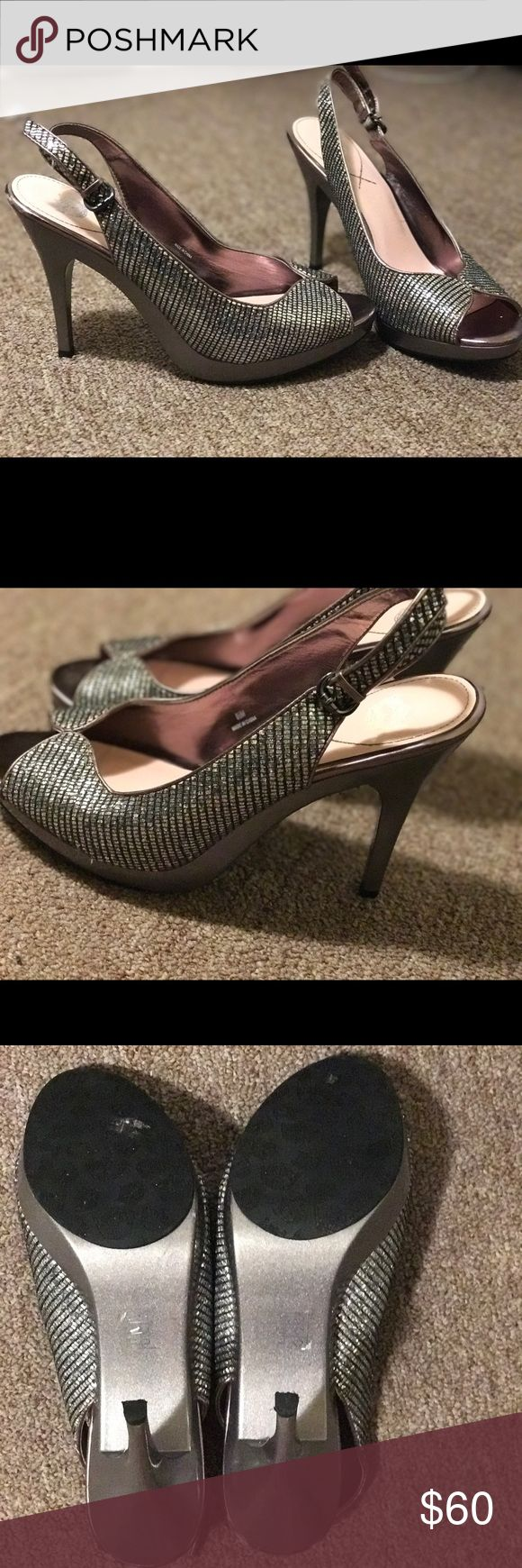 Silver rhinestone heels Elegant shimmery heels that glimmer in the light. These are size 8.5 Shoes Heels