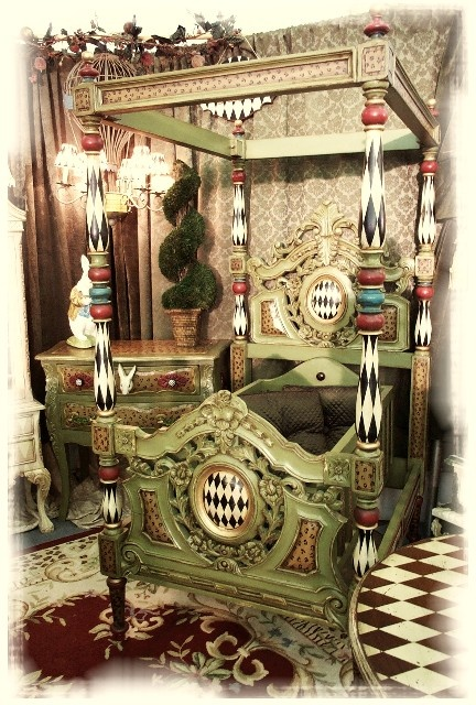 Fabulously detailed painted bed...Hey Studios?