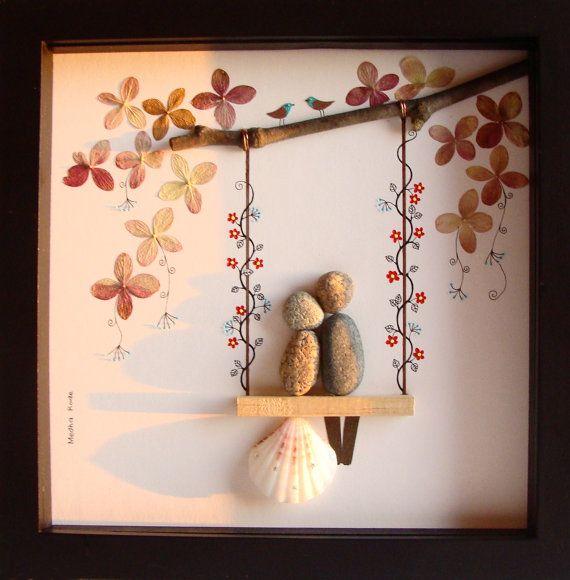 Unique Bride Gifts: Unique WEDDING Gift-Customized Wedding Gift-Pebble Art