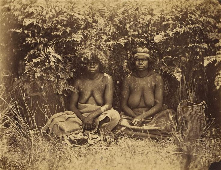 Early photographs - Indigenous Victorians Women tattood [i.e. tattooed] to show they have borne children. This image was taken by Antoine Fauchery and Richard Daintree between late 1857 and early 1859 for inclusion in their Photographic Series Sun Pictures of Victoria.