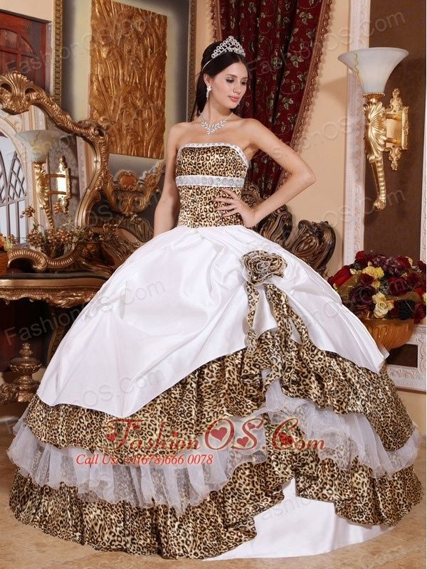 Informal White Quinceanera Dress Strapless Leopard Beading Ball Gown  http://www.fashionos.com     | where to find a quinceanera dress |