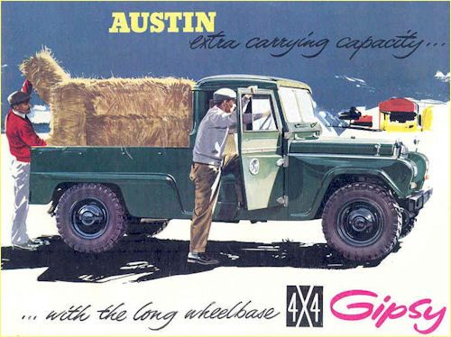1962 Austin Gypsy Advert.  Visually very similar to a Land Rover but unlike the Land Rover, the Gipsy's bodywork was steel and, in time, suffered badly from rust in the outdoors off-road environment it was intended for.  Produced 1958-1967