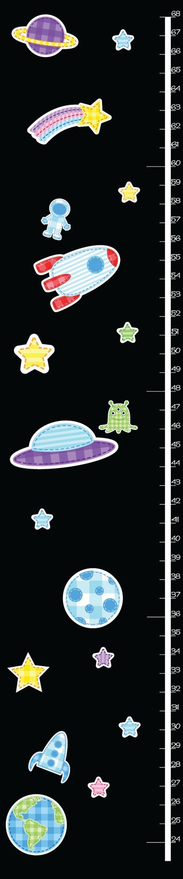 Childrens SPACE THEME growth chart removable by RushWorksGraphics, $30.00