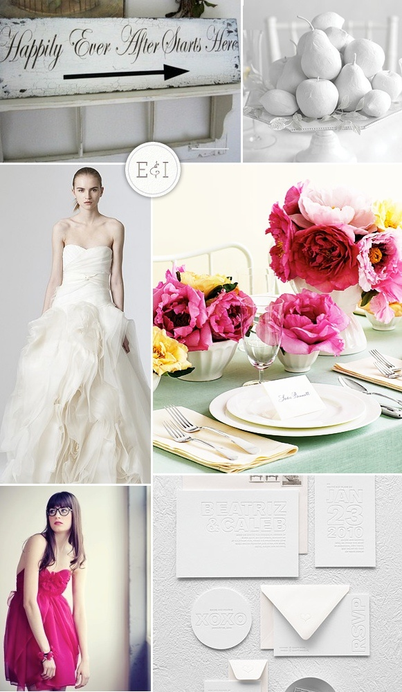 Pink & White  http://ow.ly/9bIyg: Color Ideas, Wedding