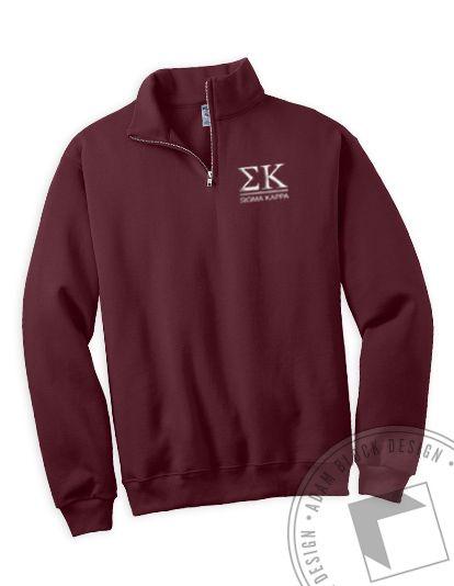 Sigma Kappa - Embroidered Letter Half Zip by ABD BlockBuy! Just $30 each plus shipping until March 25   Adam Block Design   Custom Greek Apparel & Sorority Clothes   www.adamblockdesign.com