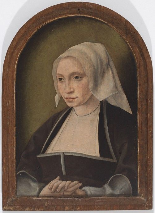 Portrait of a Woman Jan Joest Dutch, ca. 1450-1519 Attributed to Jan Mostaert Dutch, ca. 1475-1555/56 Portrait of a Woman, mid 15th century-mid 16th century oil paint; tempera 36.2 x 24.8 cm (14 5/16 x 9 13/16 inches)