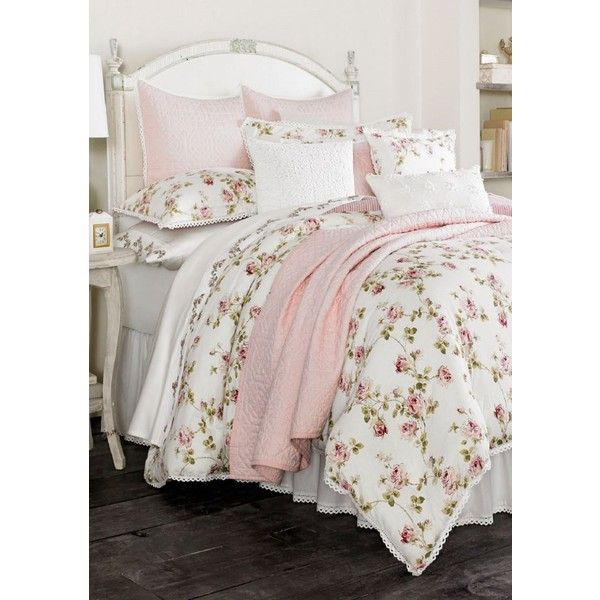 piper wright pink rosalie california king comforter set rub liked on polyvore - Cal King Comforter Sets