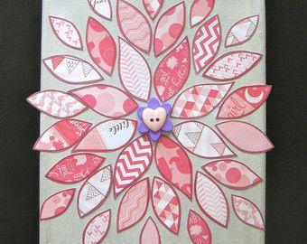 Art Floral en papier / sur le thème bébé rose fleur / gemmes & boutons / Baby Girl / pépinière Art