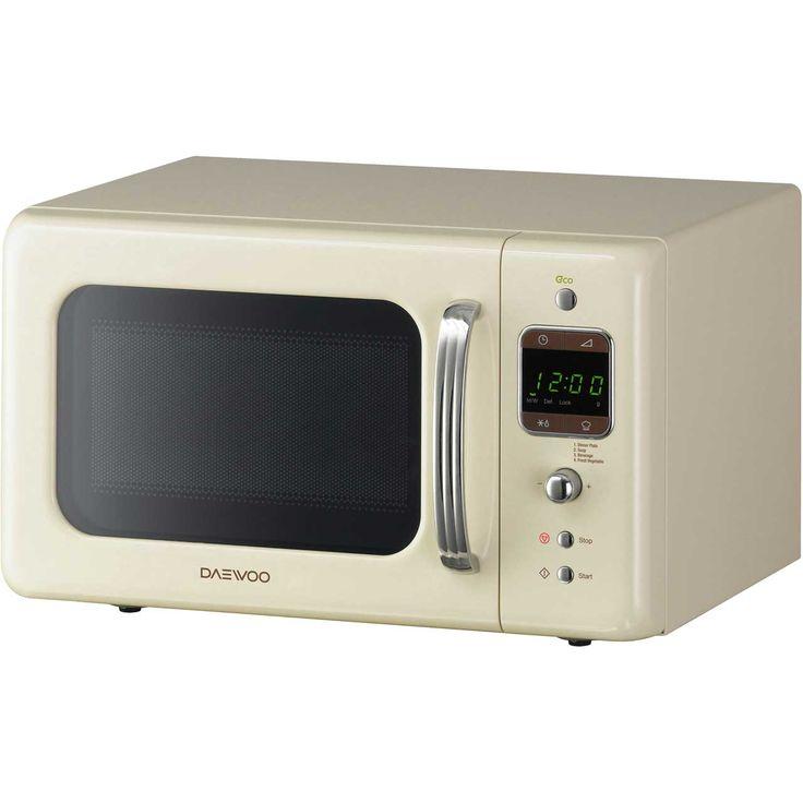Daewoo Retro Style KOR7LBKC Standard Microwave Oven - Cream