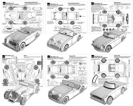 7 Classic British Paper Cars Free Paper Models Download - http://www.papercraftsquare.com/7-classic-british-paper-cars-free-paper-models-download.html#AustinHealey1004, #AustinHealey, #AustinHealey3000BJ7MKII, #AustinHealeySpriteMKI, #MGTC, #MGBRoadster, #PaperCar, #Roadster, #Triumph, #TriumphTR3, #TriumphTR6