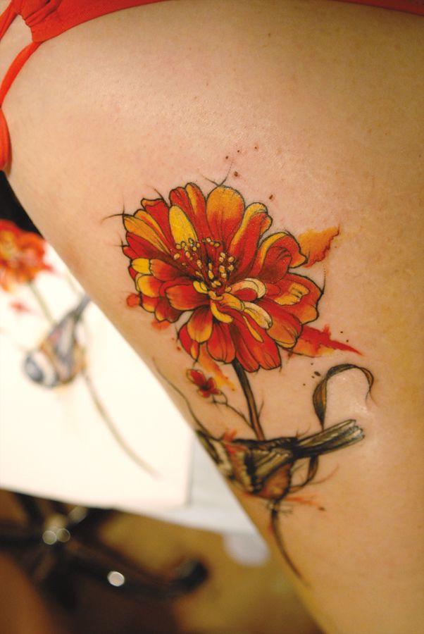 tattoo by Aubrey Mennella aubmecom ig aubreymennella zinnia tattoo  botanical flower tattoos