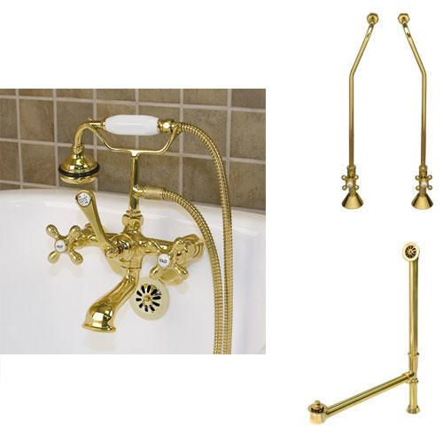 Tub Wall Faucet, Supply and Drain - Cross Handle - Copper Pipe - Polished Brass