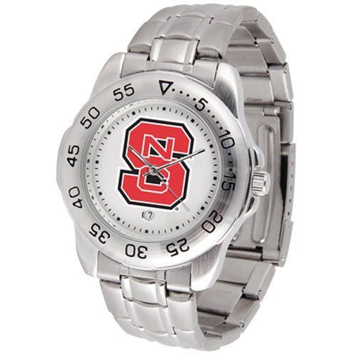 "North Carolina State Wolfpack NCAA ""Sport"" Mens Watch (Metal Band) by SunTime. $53.10. Calendar Date Function. Scratch Resistant Face. Rotation Bezel/Timer. This handsome, eye-catching watch comes with a stainless steel link bracelet. A date calendar function plus a rotating bezel/timer circles the scratch resistant crystal. Sport the bold, colorful, high quality logo with pride.. Save 10% Off!"