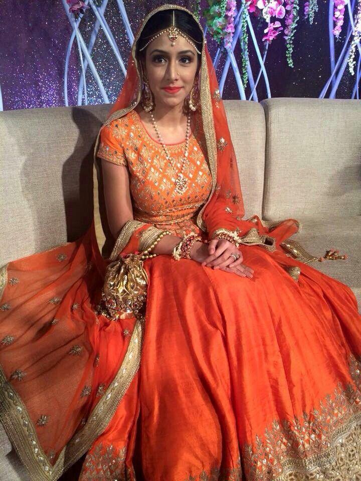 5a5f203c7 Bangladeshi bride shifa mamoon  orange  lehenga  holud