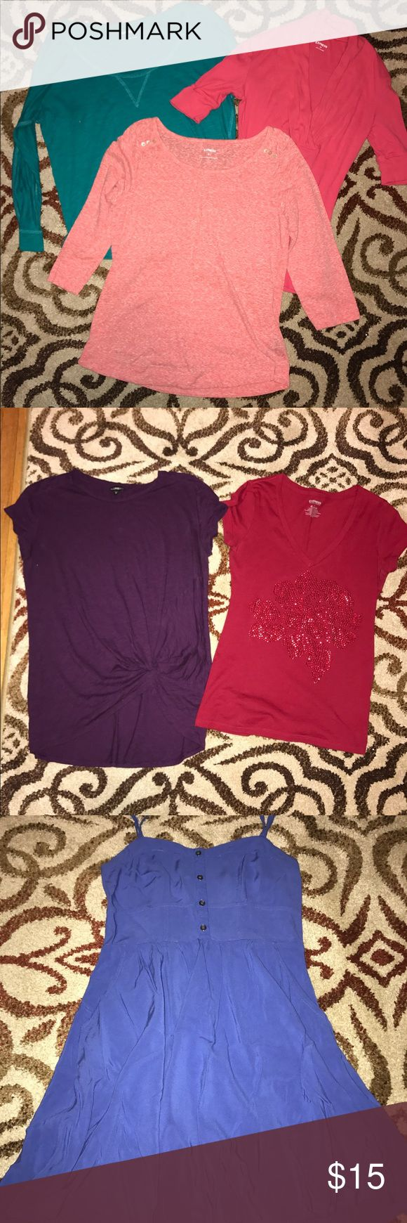 EXPRESS lot 6pc. Express lot!  Green long sleeve size s Light Pink 3/4 sleeve size s Dark pink 3/4 sleeve size xs Purple short sleeve size m( fits like baggy small) Red short sleeve size s Blue dress size xs (stretchy back) Express Tops