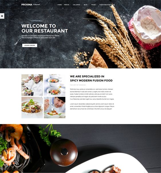 This restaurant theme for WordPress has a responsive layout, WPML and WooCommerce support, a custom header, parallax effects, an Ajax portfolio, 20 gallery templates, Google Web Fonts, a drag and drop content builder, and more.