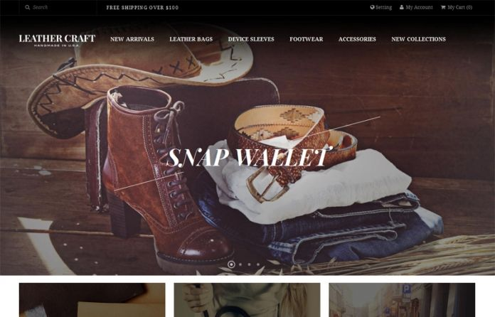 JM Leathercraft - flat,elegant responsive #Magento theme for #eCommerce Magento sites about leather handbags and accessories.