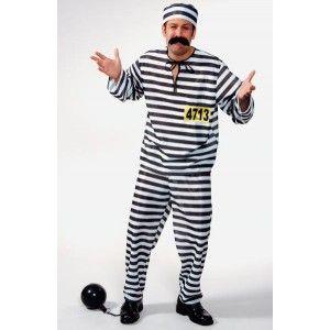 Déguisement prisonnier homme, Déguisement prisonnier blanc noir homme luxe, bagnard, western, prisonniers, carnaval, uniforme