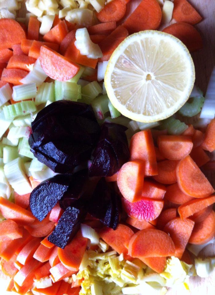 Juicing veg.