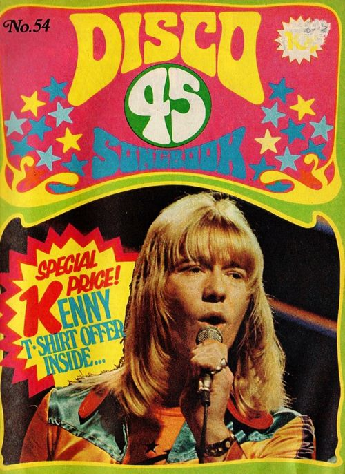 glamidols: Brian Connolly of The Sweet on the cover of Disco 45 songbook (No. 54 1975)