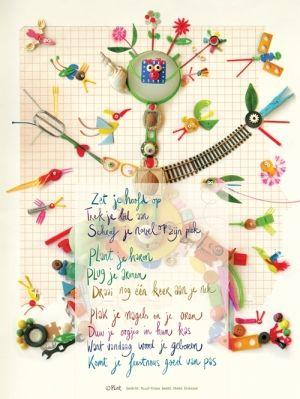 Aan de muur - Poëzieposters voor 7 tot 107 - poëzieposter met gedicht 'Zet je hoofd op' van Ruud Kroes