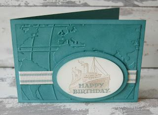 This fun embossed background is made with the Stampin' Up!  World Traveler Embossing Folder.  The steam ship is from the Traveler stamp set.  #stampinup