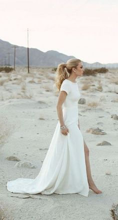 sarah seven slit beach wedding dress / http://www.deerpearlflowers.com/beach-wedding-dresses-with-gorgeous-details/