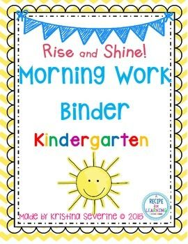Rise and Shine Morning Work Binder {Kindergarten} is a great way to incorporate morning work without all those copies! I simply made one copy per student at the beginning of the year. I put these in a small binder in page protectors and students work on it every day in the morning!