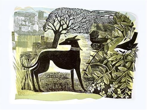 'Richmond Whippet' by Angela Harding (linocut)