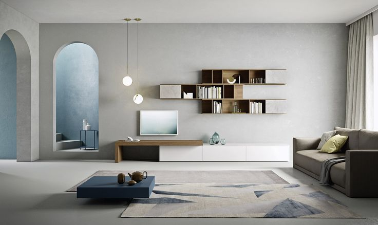 Die modernen Wohnzimmermöbel werden von Novamobili in Italien hergestellt.  #wohnzimmer #wohnwand #tv #sofa #couch #couchtisch #livingroom
