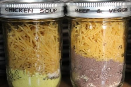 Beef Vegetable Soup and Chicken Noodle Soup in a Jar