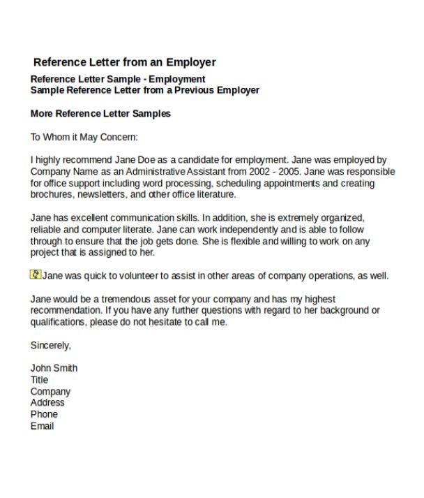 4+ Job Reference Letter Templates