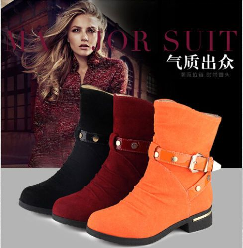 Korean Casual Ankle Boots Womens Low Cuban Heel Rivets Buckle Ladies Shoes Chic