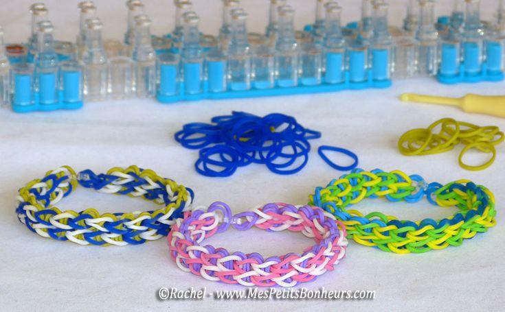 bracelets elastiques rainbow loom simples a deux colonnes ...