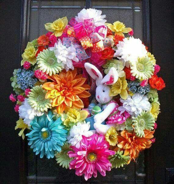 Silk Flower Easter Wreath!!! Bebe'!!! Cute Bunny Rabbit!!!