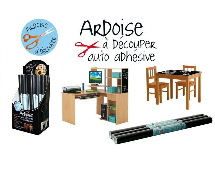 "2 Rouleaux Sticker Ardoise A Decouper ""Noir"" - Dimensions 45X100 cm: Amazon.fr…"