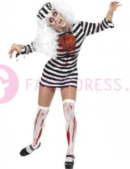 Dit Lady Zombie Gevangene Halloween kostuum bestaat uit:  Een korte zwart/wit gestreepte jurk met bloedvlekken, gekartelde randen en een bloederig latex borststuk.  Een bijpassende zwarte/witte met bloed besmeurde hoed.