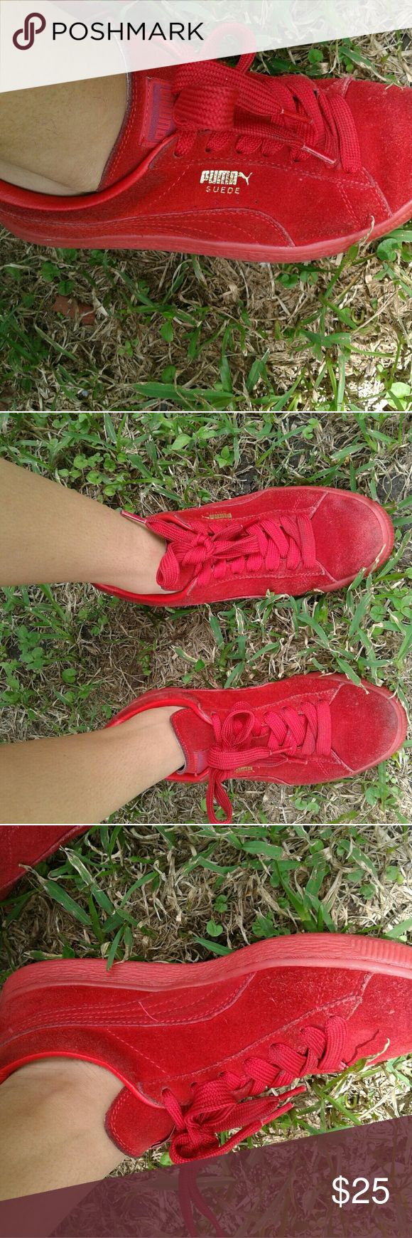 Red Puma Suede! These shoes show some wear at the top but would still be a great purchase as they are currently in style. Puma Shoes Sneakers