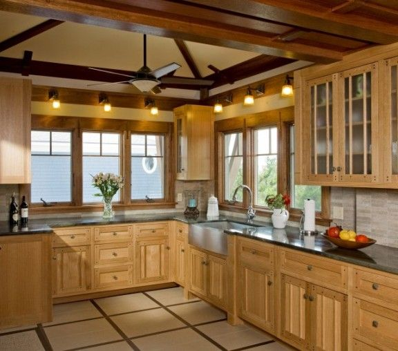 For Some reason I really like this kitchen: L shaped traditional eclectic kitchen natural color wood cabinet