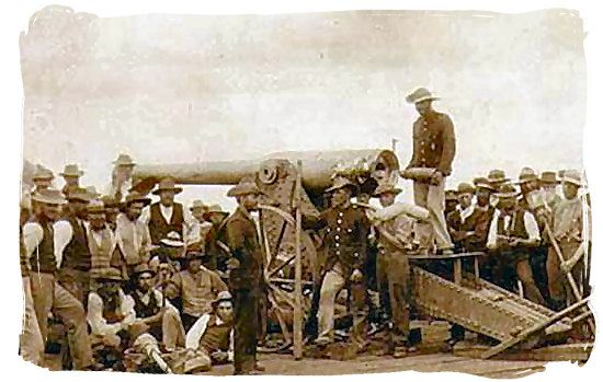 De Boers using the Long Tom Canon in the siege of Mafeking, Anglo-Boer War