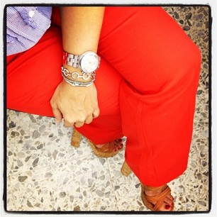 red pants and triped shirt
